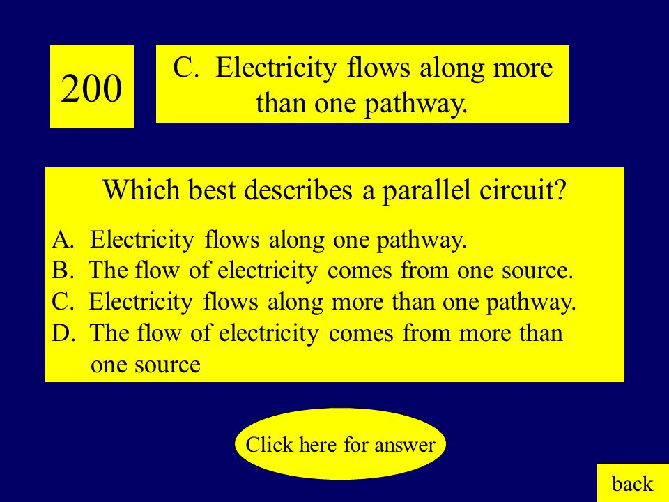100 D. Electric fan. Click here for answer back Which of the following converts electrical energy into motion? A. Light switch B. Electric stove C. Li