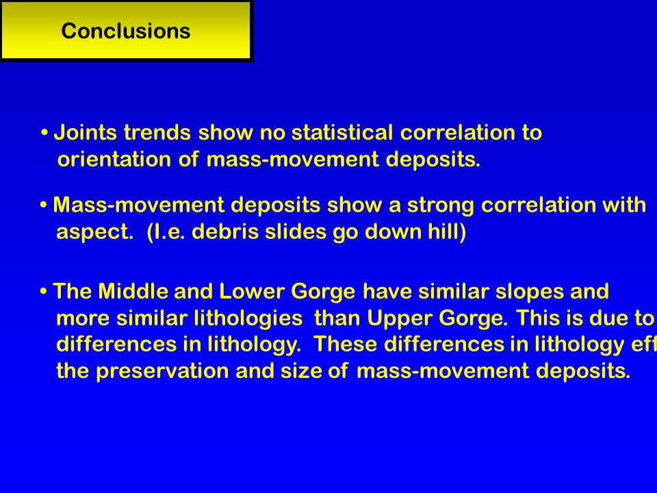 Conclusions Mass-movement deposits show a strong correlation with aspect.