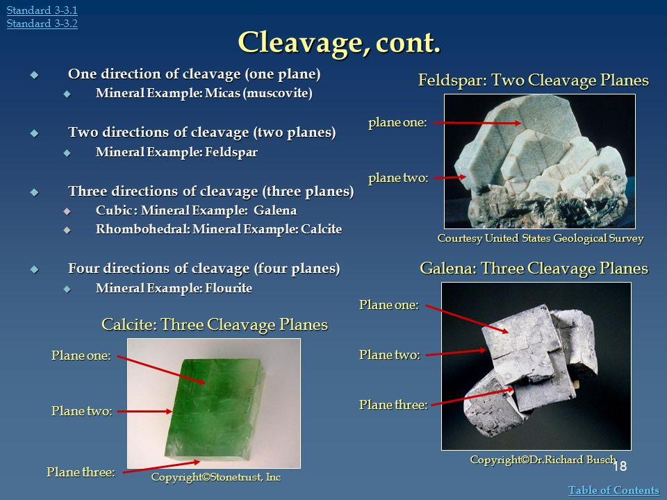 Cleavage, cont.  One direction of cleavage (one plane)  Mineral Example: Micas (muscovite)  Two directions of cleavage (two planes)  Mineral Examp