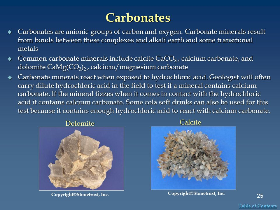 Carbonates  Carbonates are anionic groups of carbon and oxygen. Carbonate minerals result from bonds between these complexes and alkali earth and som