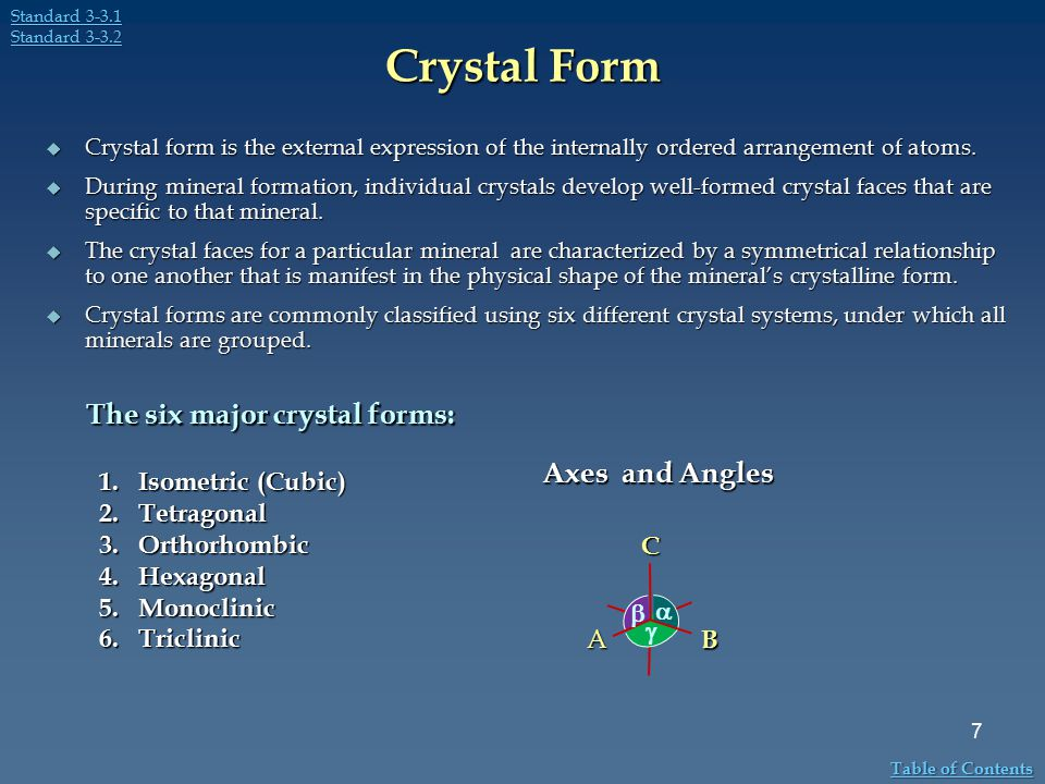 Crystal Form  Crystal form is the external expression of the internally ordered arrangement of atoms.  During mineral formation, individual crystals