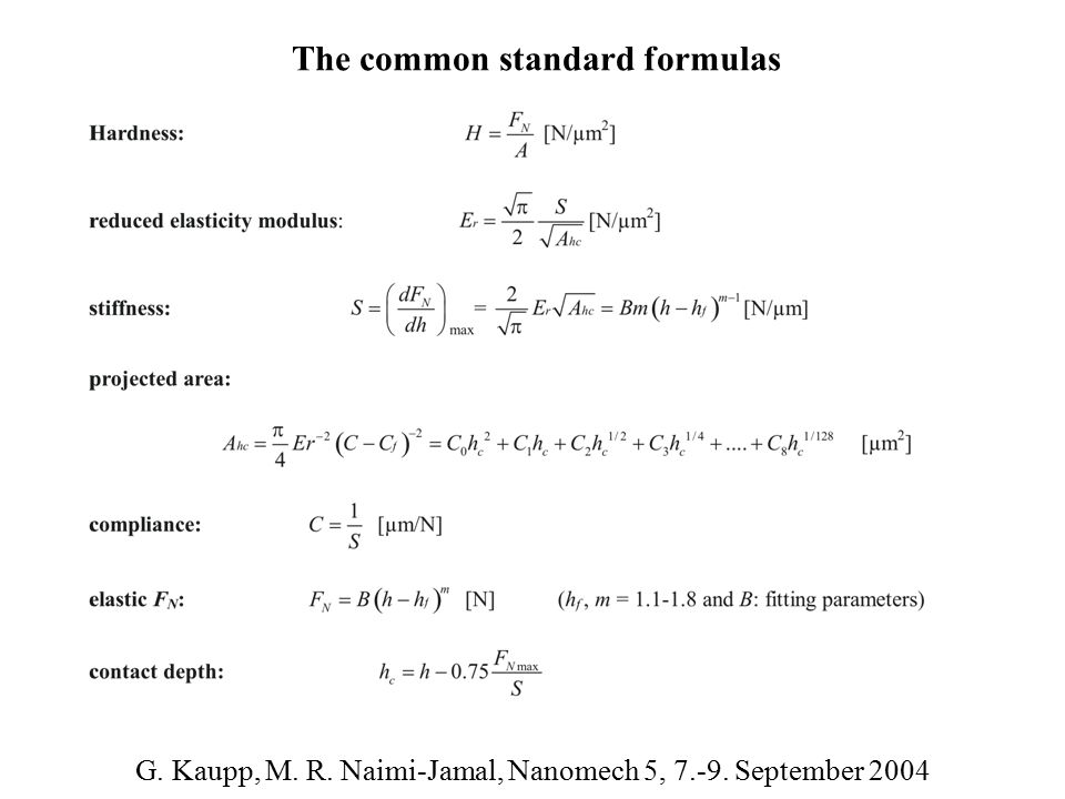 The common standard formulas G. Kaupp, M. R. Naimi-Jamal, Nanomech 5, 7.-9. September 2004