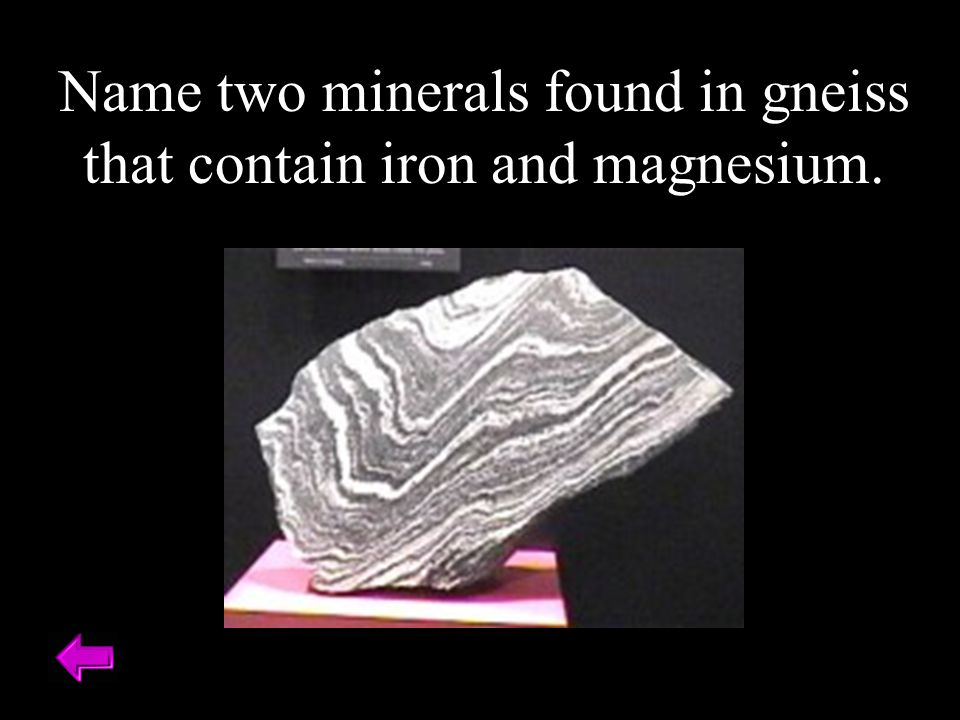 Name two minerals found in gneiss that contain iron and magnesium.