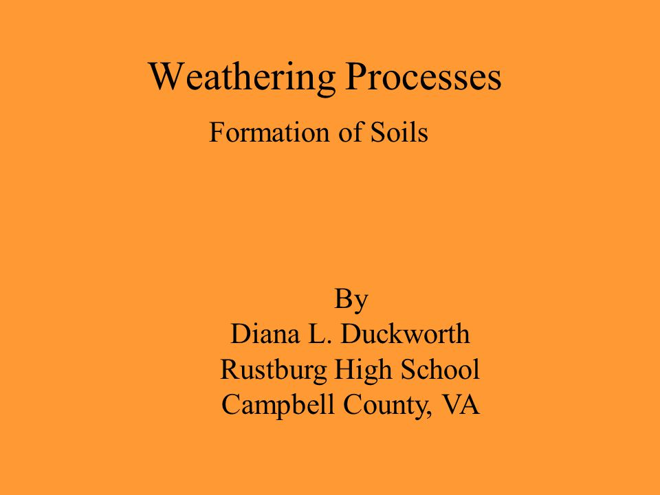 Weathering Processes Formation of Soils By Diana L.