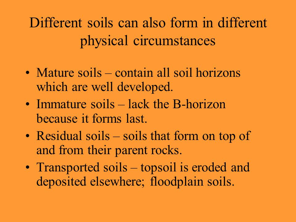 Different soils can also form in different physical circumstances Mature soils – contain all soil horizons which are well developed.