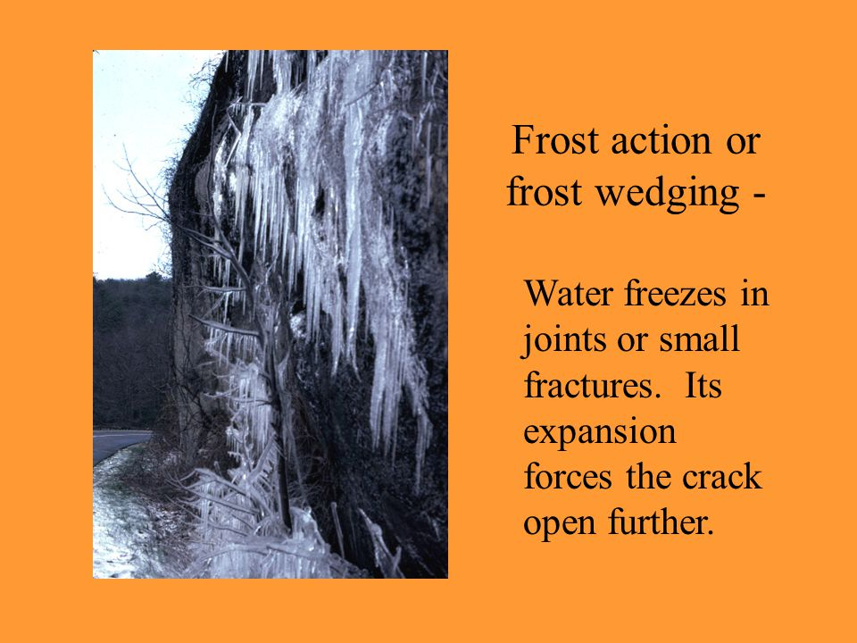 Frost action or frost wedging - Water freezes in joints or small fractures. Its expansion forces the crack open further.