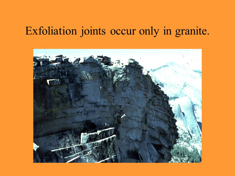 Exfoliation joints occur only in granite.