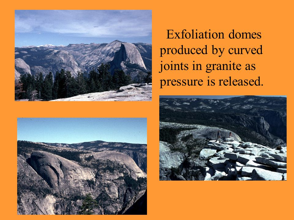 Exfoliation domes produced by curved joints in granite as pressure is released.