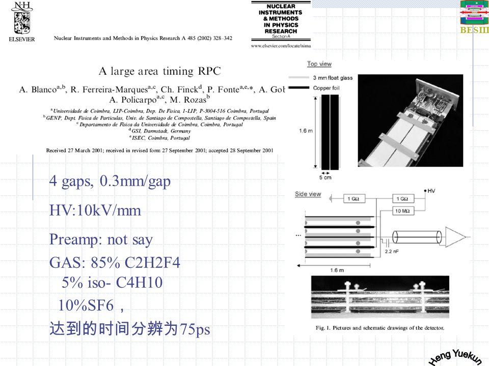 BESIII MRPC results 试验尺寸 cm 时间分辨 VEPPW e+e- 小尺寸 0.1mm 缝隙 75ps (流光模式) NA49 4X30 0.1mm 缝隙) 50ps (流光模式) HARP200X15X1140-180ps FOPI Upgrade 9.1X180 (long