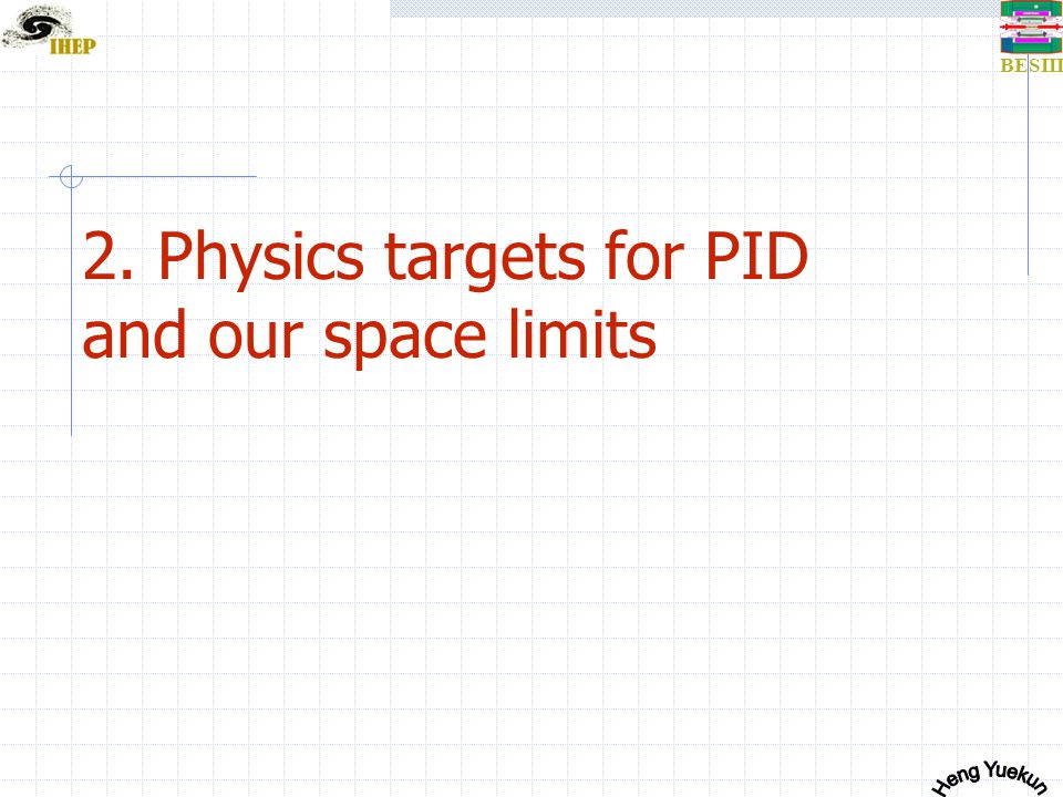 BESIII 2. Physics targets for PID and our space limits