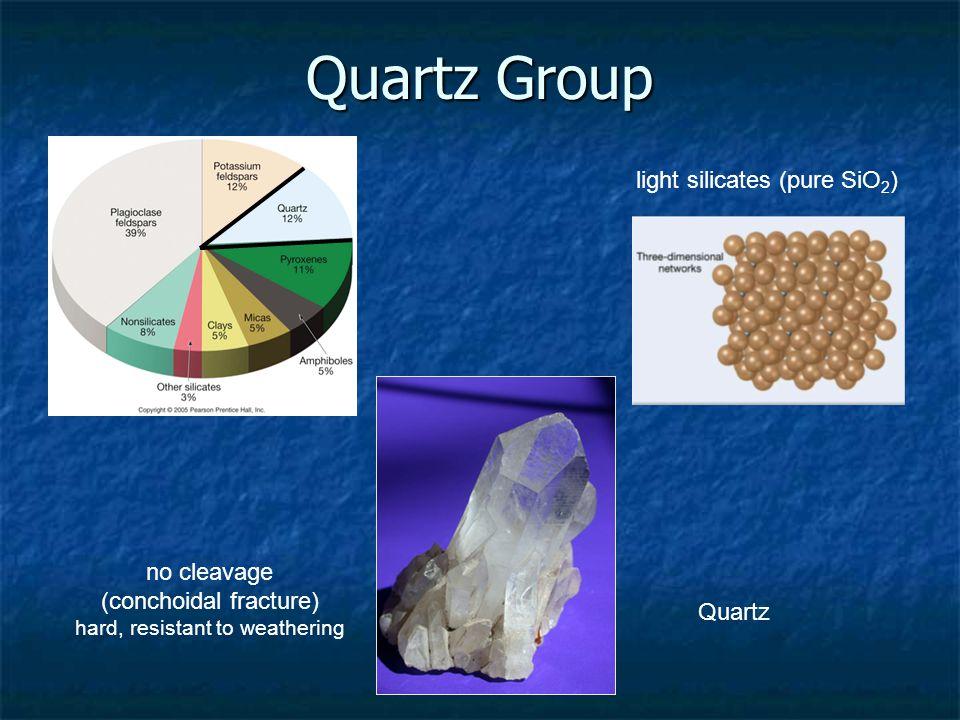 Quartz Group light silicates (pure SiO 2 ) no cleavage (conchoidal fracture) hard, resistant to weathering Quartz