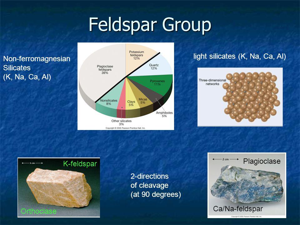 Feldspar Group Non-ferromagnesian Silicates (K, Na, Ca, Al) light silicates (K, Na, Ca, Al) 2-directions of cleavage (at 90 degrees) K-feldspar Orthoclase Plagioclase Ca/Na-feldspar