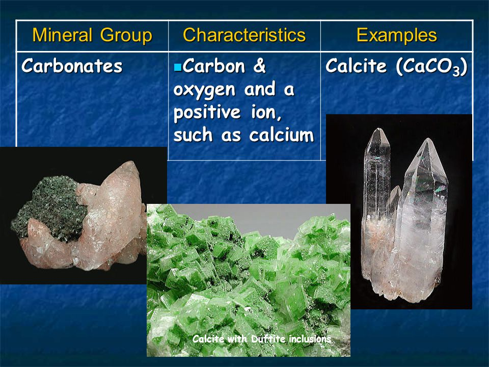 Mineral Group CharacteristicsExamples Carbonates Carbon & oxygen and a positive ion, such as calcium Carbon & oxygen and a positive ion, such as calcium Calcite (CaCO 3 ) Calcite with Duftite inclusions