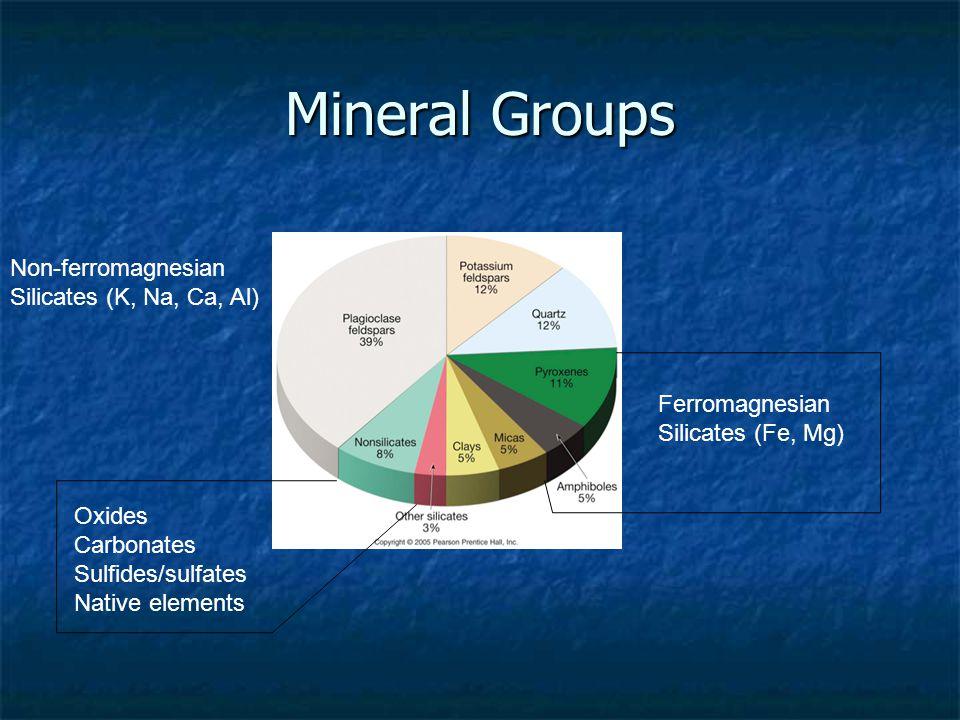 Mineral Groups Non-ferromagnesian Silicates (K, Na, Ca, Al) Ferromagnesian Silicates (Fe, Mg) Oxides Carbonates Sulfides/sulfates Native elements
