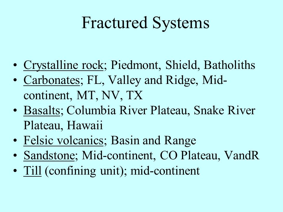 Fractured Systems Crystalline rock; Piedmont, Shield, Batholiths Carbonates; FL, Valley and Ridge, Mid- continent, MT, NV, TX Basalts; Columbia River Plateau, Snake River Plateau, Hawaii Felsic volcanics; Basin and Range Sandstone; Mid-continent, CO Plateau, VandR Till (confining unit); mid-continent