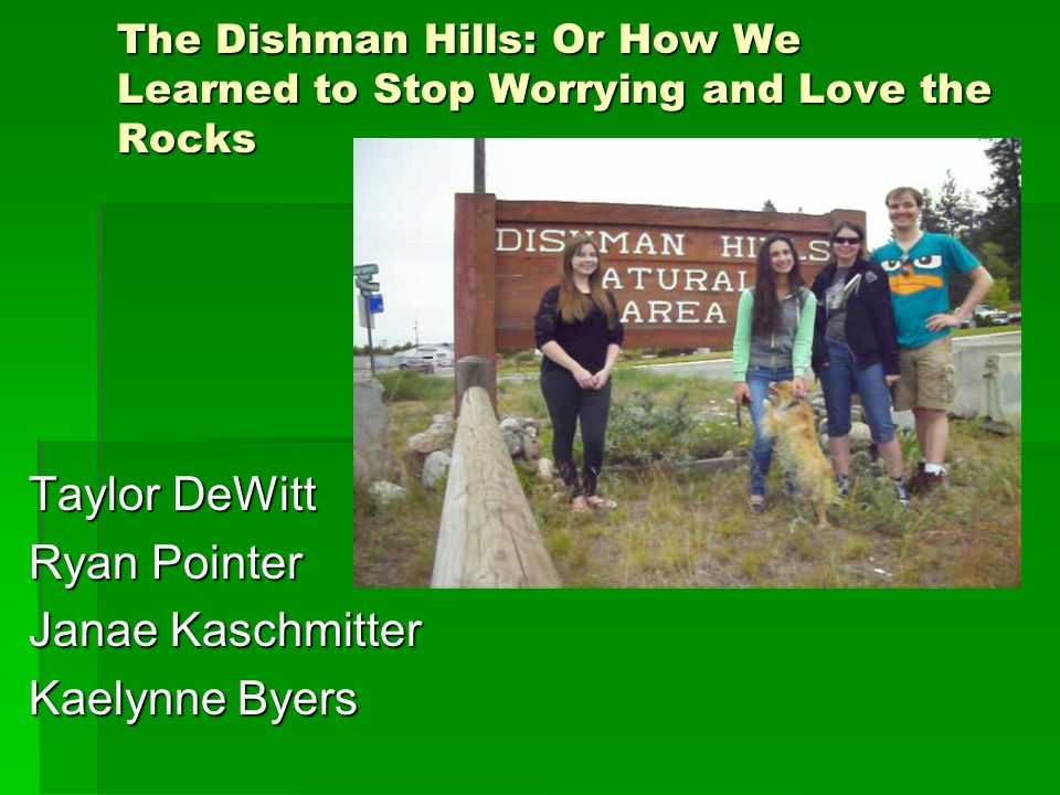 Introduction & Purpose In this presentation we will discuss the rocks and geological features of the Dishman-Mica conservation area, as well as its history and recreation activities available.