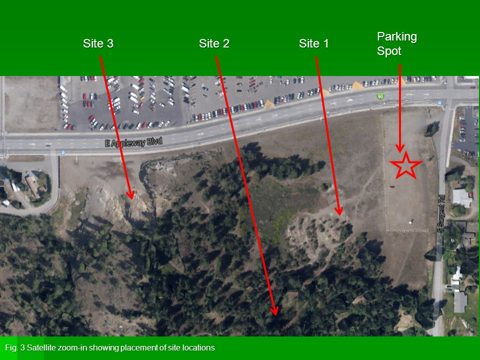 Site 1 Site 2 Site 3 Fig. 3 Satellite zoom-in showing placement of site locations Parking Spot