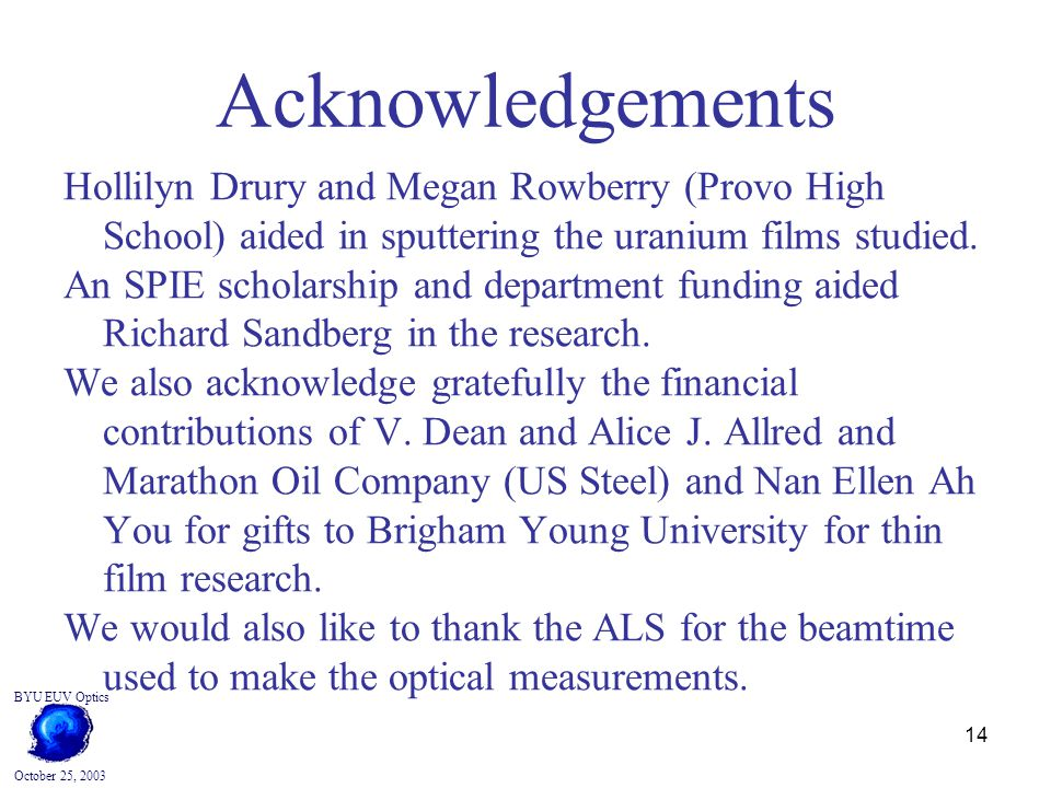 14 BYU EUV Optics October 25, 2003 Acknowledgements Hollilyn Drury and Megan Rowberry (Provo High School) aided in sputtering the uranium films studied.