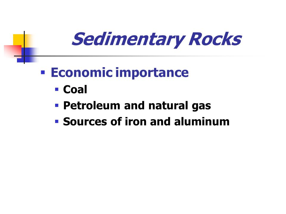 Sedimentary Rocks  Economic importance  Coal  Petroleum and natural gas  Sources of iron and aluminum