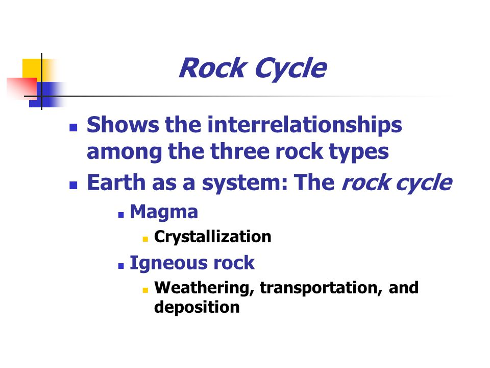 Rock Cycle Shows the interrelationships among the three rock types Earth as a system: The rock cycle Magma Crystallization Igneous rock Weathering, transportation, and deposition