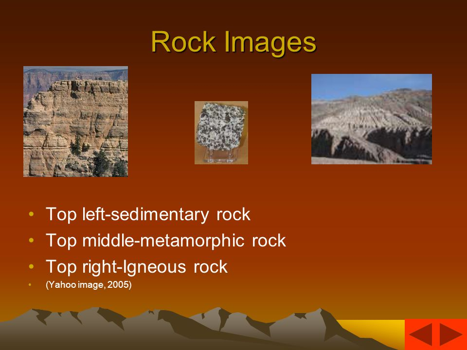 Three Types of Rocks Rocks are classified by how they are formed –Igneous rocks are formed from magma inside the Earth –Metamorphic rocks are formed from heat and pressure –Sedimentary rocks are formed by bits and pieces cemented together.
