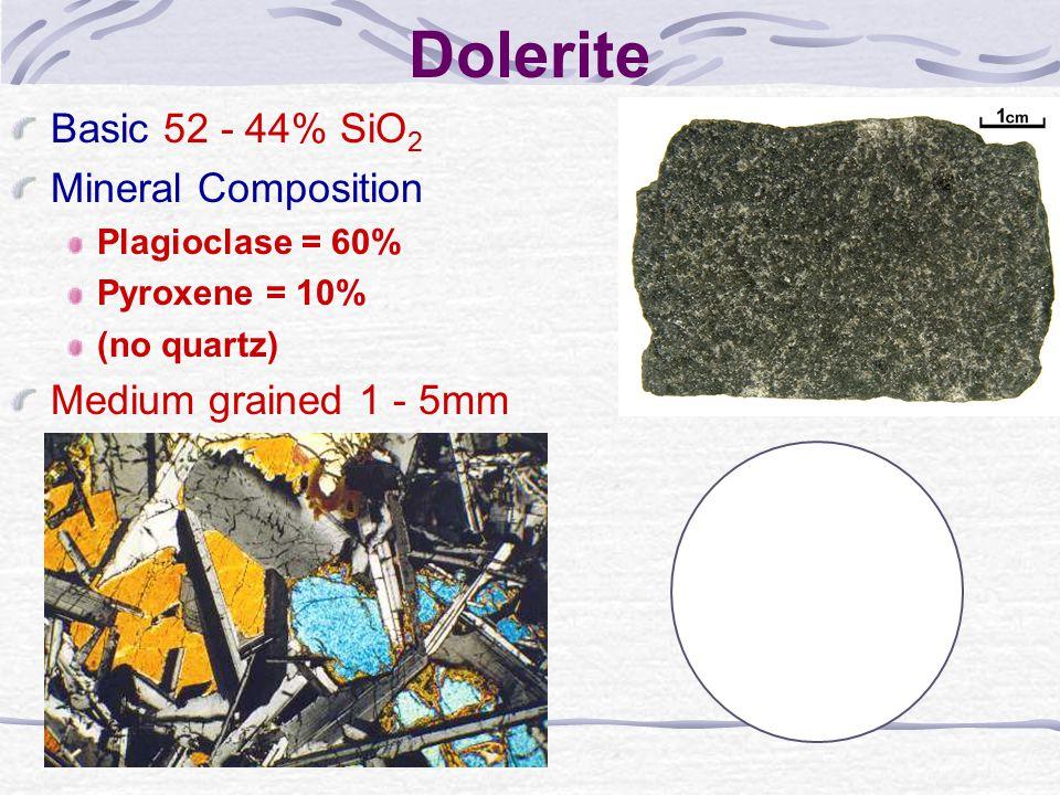 Dolerite Basic 52 - 44% SiO 2 Mineral Composition Plagioclase = 60% Pyroxene = 10% (no quartz) Medium grained 1 - 5mm