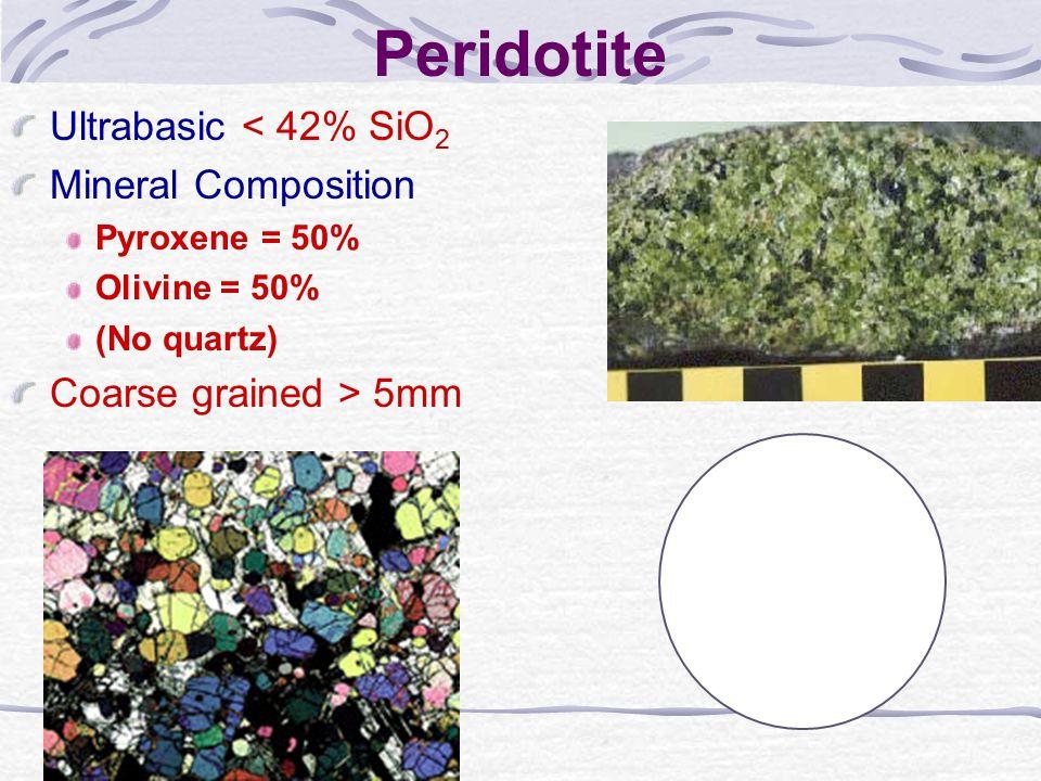 Peridotite Ultrabasic < 42% SiO 2 Mineral Composition Pyroxene = 50% Olivine = 50% (No quartz) Coarse grained > 5mm