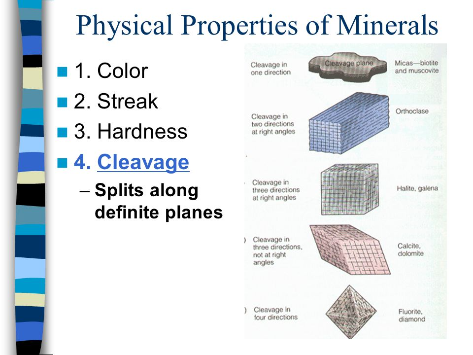Physical Properties of Minerals 1. Color 2. Streak 3.