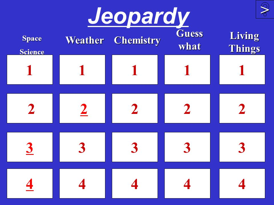 Jeopardy 1 2 3 4 1 2 3 4 1 2 3 4 4 >>>> 1 2 3SpaceScienceWeather Guess what Chemistry 1 2 3 4 Living Things