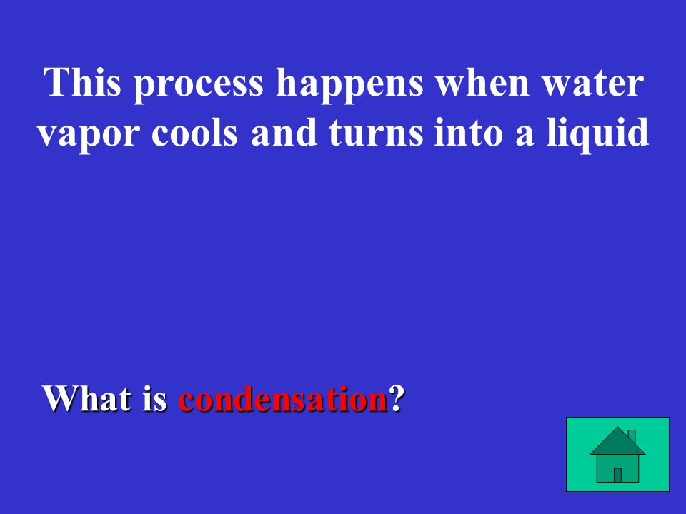 What is condensation? This process happens when water vapor cools and turns into a liquid