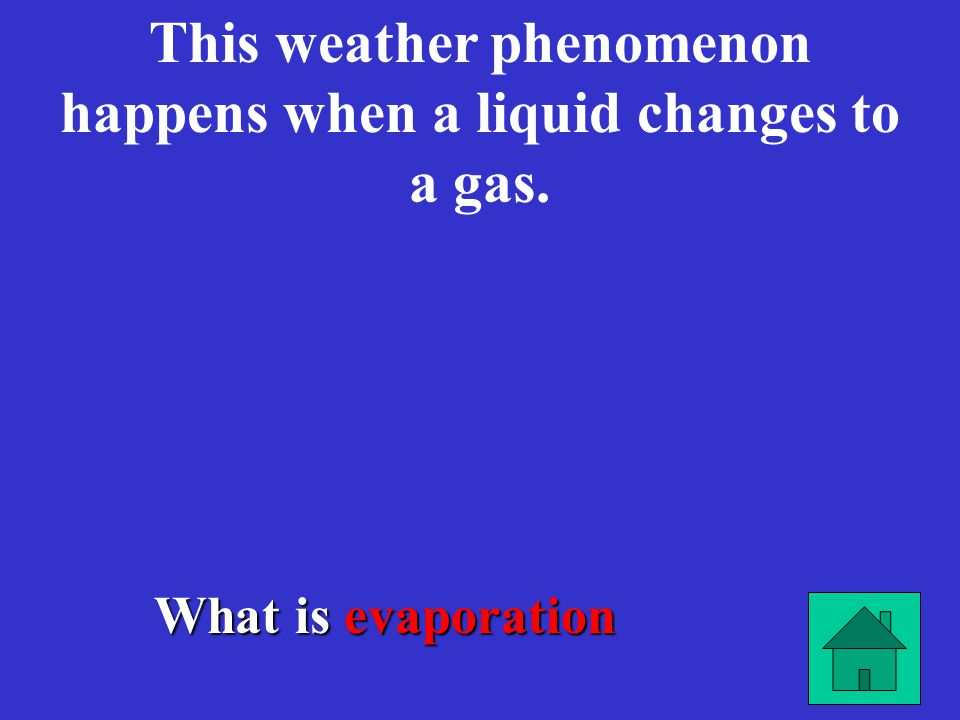 What is evaporation This weather phenomenon happens when a liquid changes to a gas.