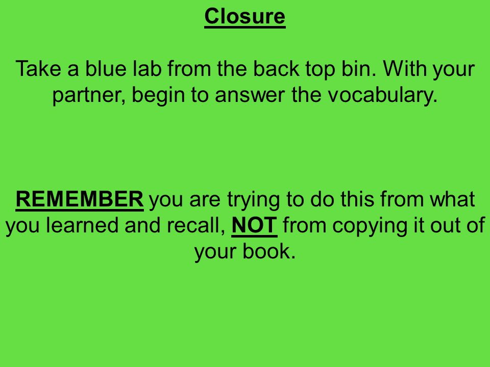 Closure Take a blue lab from the back top bin. With your partner, begin to answer the vocabulary.