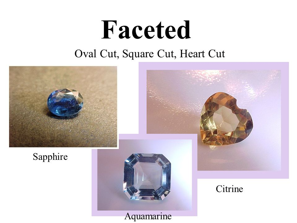 Faceted Oval Cut, Square Cut, Heart Cut Sapphire Aquamarine Citrine
