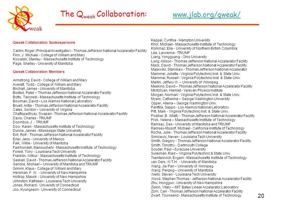 20 Qweak Collaboration Spokespersons Carlini, Roger (Principal Investigator) - Thomas Jefferson National Accelerator Facility Finn, J.