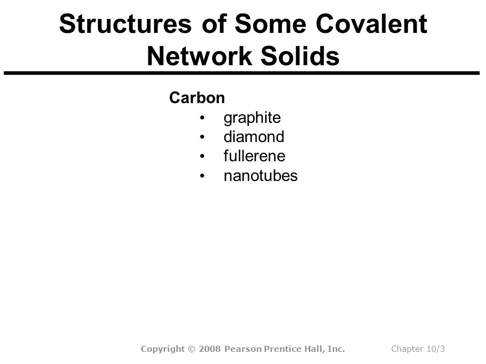 Chapter 10/3 Structures of Some Covalent Network Solids Carbon graphite diamond fullerene nanotubes Silica (SiO 2 ) quartz sand quartz glass