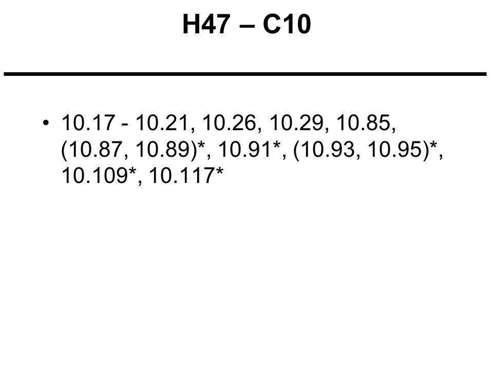 H47 – C10 10.17 - 10.21, 10.26, 10.29, 10.85, (10.87, 10.89)*, 10.91*, (10.93, 10.95)*, 10.109*, 10.117*
