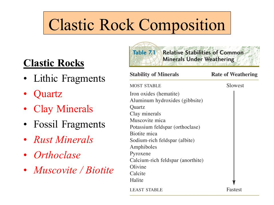Clastic Rock Composition Clastic Rocks Lithic Fragments Quartz Clay Minerals Fossil Fragments Rust Minerals Orthoclase Muscovite / Biotite