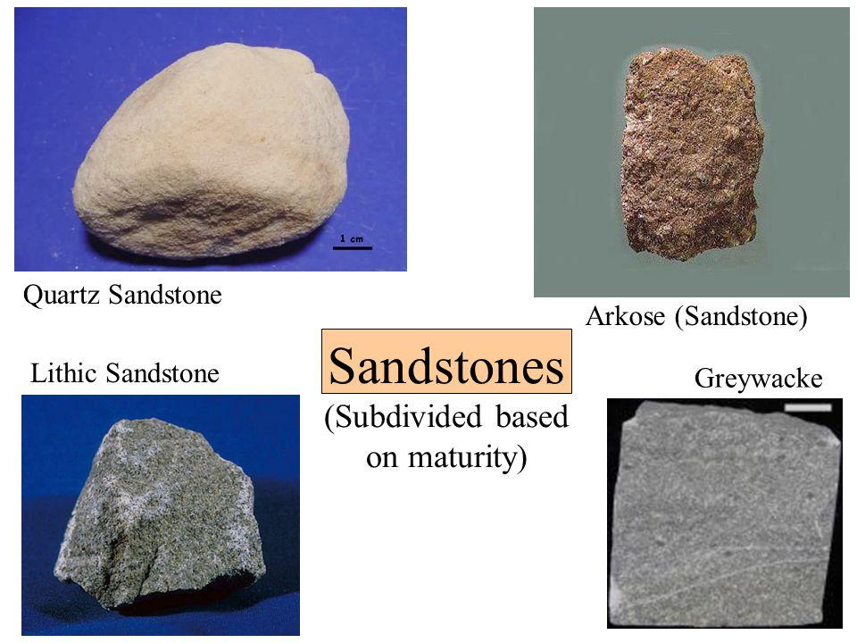 Sandstones (Subdivided based on maturity) Quartz Sandstone Arkose (Sandstone) Lithic Sandstone Greywacke