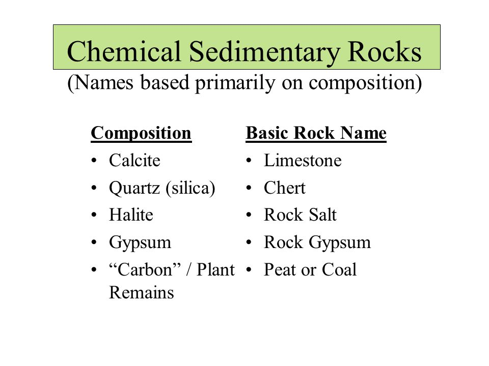 Chemical Sedimentary Rocks (Names based primarily on composition) Basic Rock Name Limestone Chert Rock Salt Rock Gypsum Peat or Coal Composition Calcite Quartz (silica) Halite Gypsum Carbon / Plant Remains