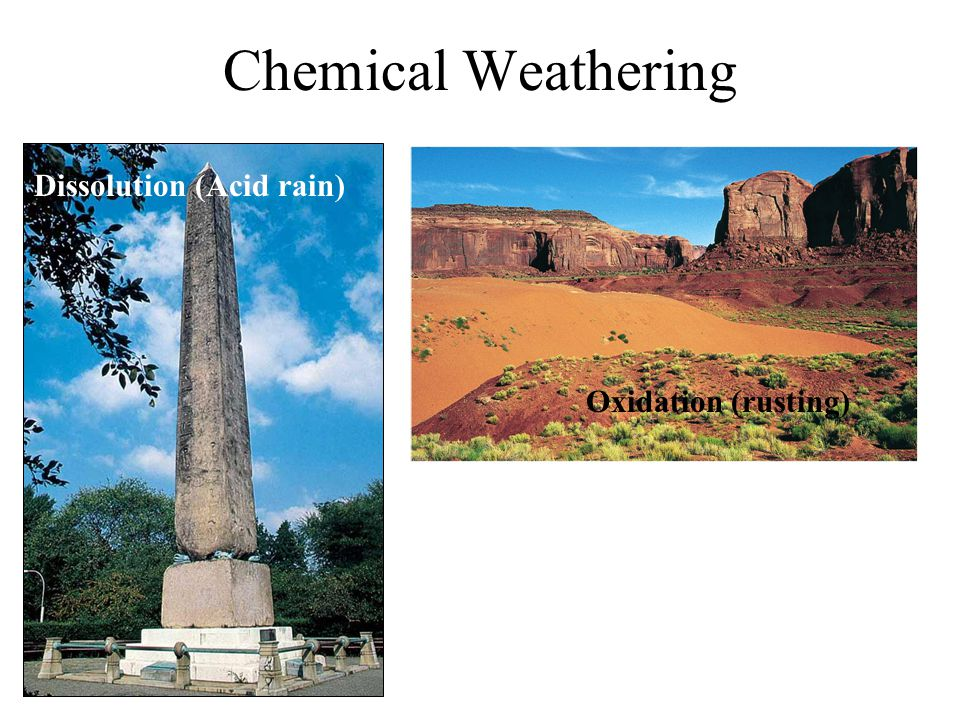 Chemical Weathering Oxidation (rusting) Dissolution (Acid rain)