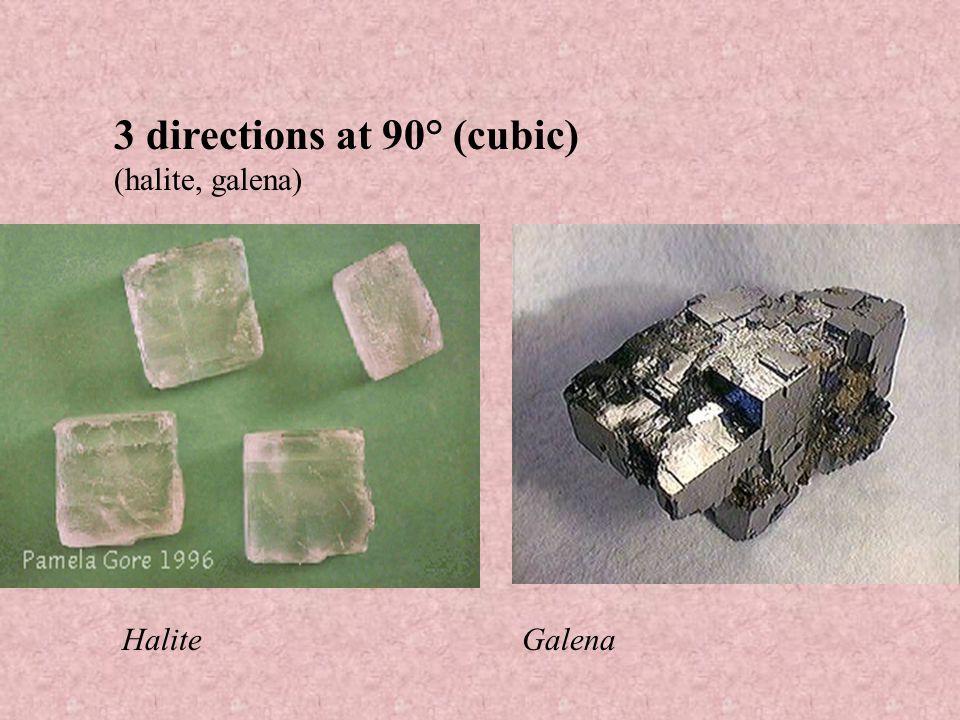 2 directions at 90° (feldspar, pyroxene) Pyroxene