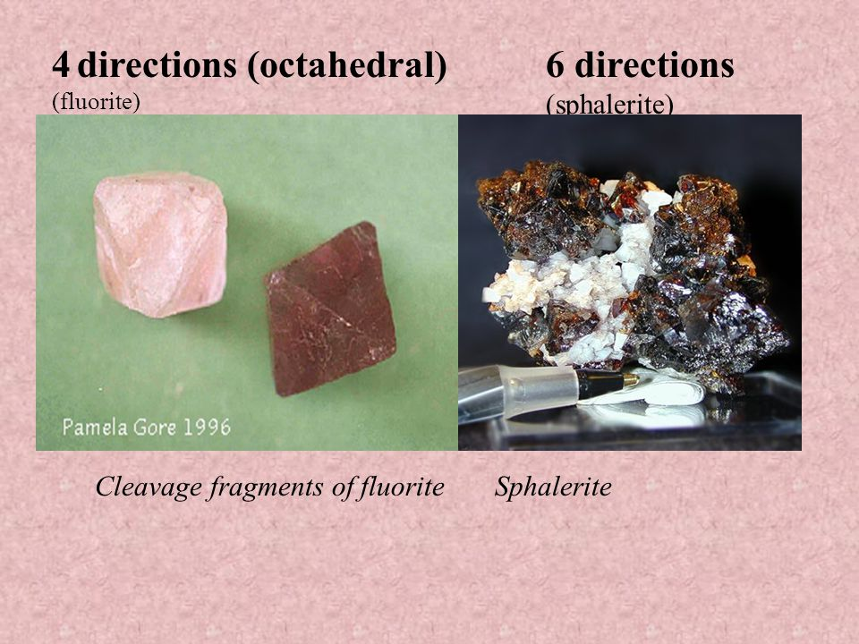 3 directions not at 90°(rhombohedral ) (calcite, dolomite) Cleavage fragments of calcite Cleavage fragments of dolomite
