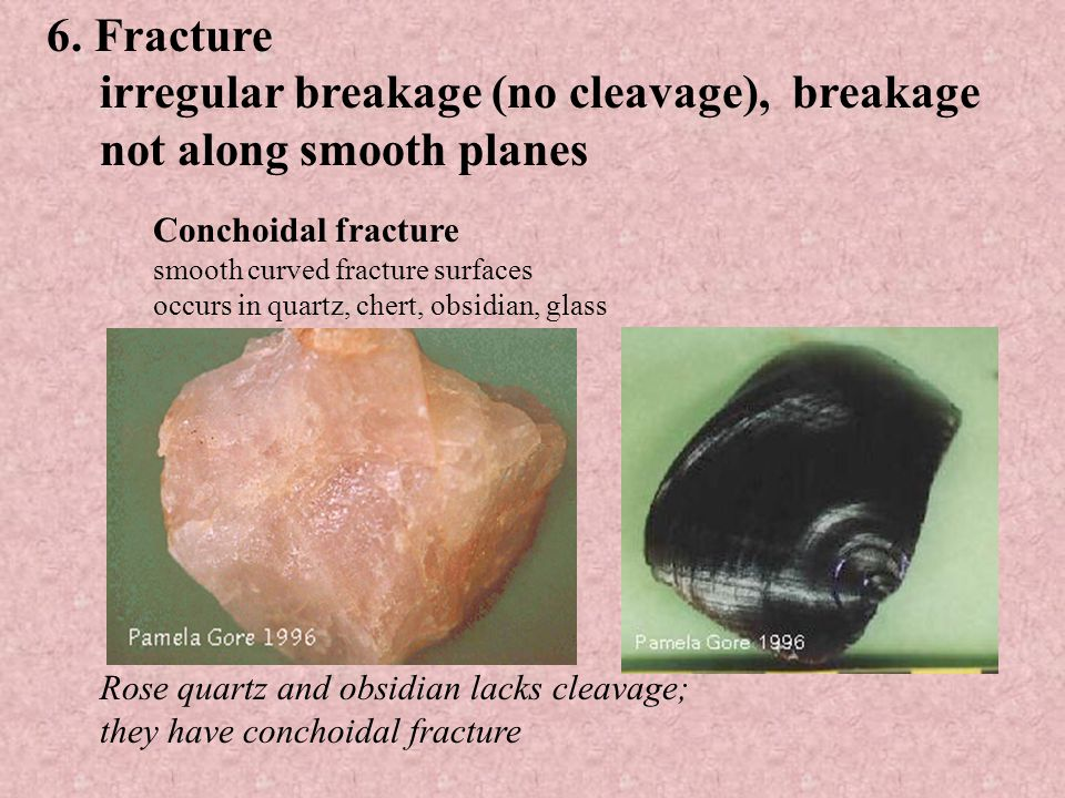 4 directions (octahedral) (fluorite) Cleavage fragments of fluorite Sphalerite 6 directions (sphalerite)