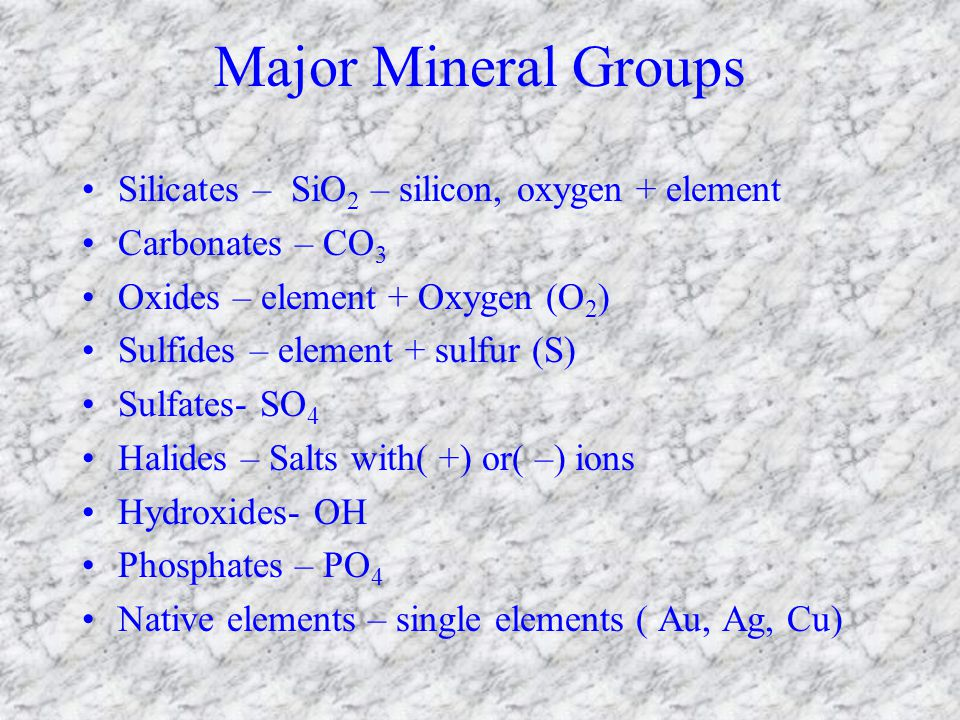 Minerals Objectives List 5 characteristics all minerals share Give examples of 2 ways that minerals form List the physical properties to identify minerals Describe how physical properties are used to identify minerals List characteristics that gems have that make them different from and more valuable than minerals List the conditions necessary for a mineral to be classified an ore List the properties of titanium that make it useful in biomedicine Identify the minerals that are mined for titanium