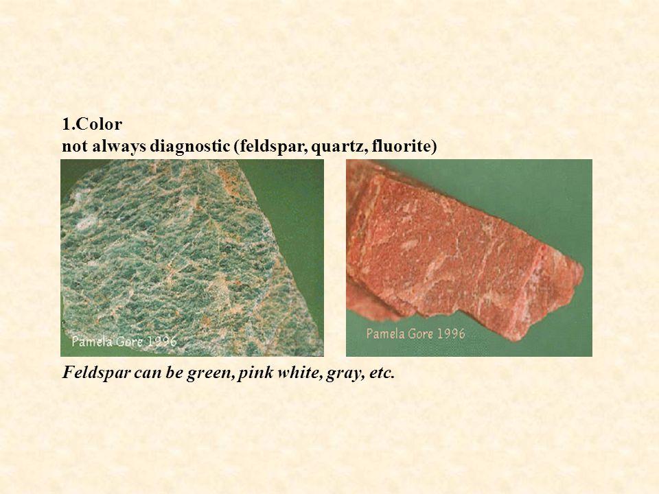 1.Color not always diagnostic (feldspar, quartz, fluorite) Feldspar can be green, pink white, gray, etc.