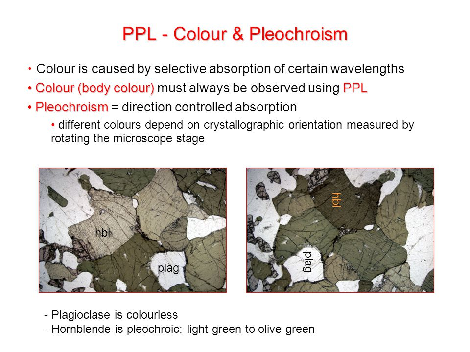Colour is caused by selective absorption of certain wavelengths Colour (body colour) PPL Colour (body colour) must always be observed using PPL Pleochroism Pleochroism = direction controlled absorption different colours depend on crystallographic orientation measured by rotating the microscope stage plag hbl plag hbl - Plagioclase is colourless - Hornblende is pleochroic: light green to olive green PPL - Colour & Pleochroism