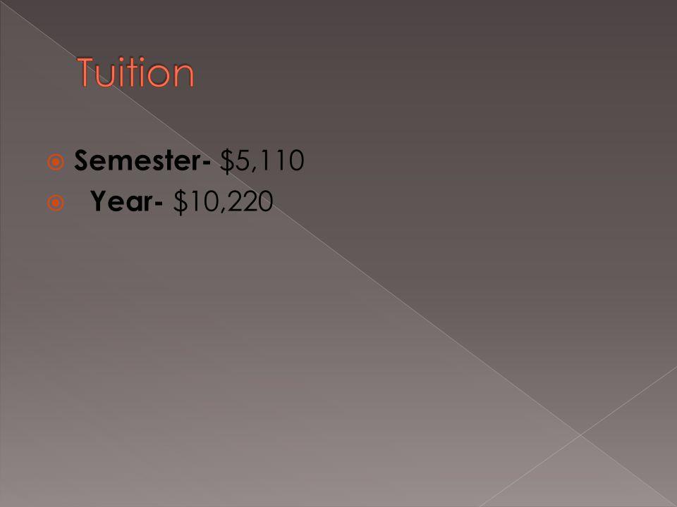  Semester- $5,110  Year- $10,220