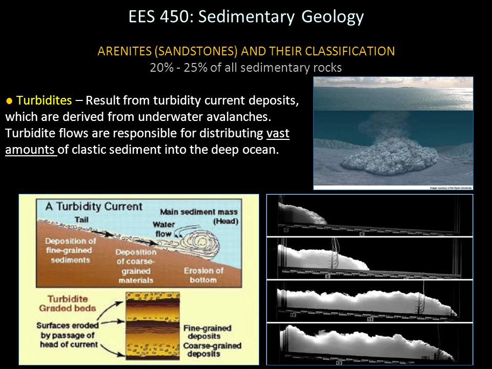 5 EES 450: Sedimentary Geology ARENITES (SANDSTONES) AND THEIR CLASSIFICATION 20% - 25% of all sedimentary rocks ● Turbidites – Result from turbidity
