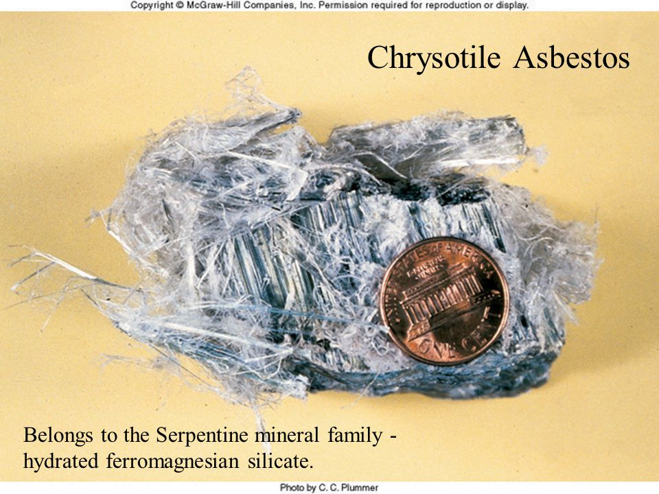 Chrysotile Asbestos Belongs to the Serpentine mineral family - hydrated ferromagnesian silicate.