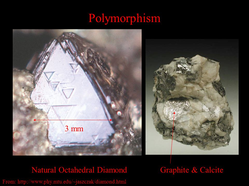 Polymorphism Graphite & CalciteNatural Octahedral Diamond 3 mm From: http://www.phy.mtu.edu/~jaszczak/diamond.html
